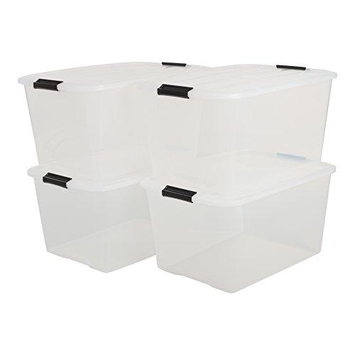 IRIS, 4er-Set stapelbare Aufbewahrungsboxen 'Top Box', mit Deckel und Klickverschluss, 45 Liter,...