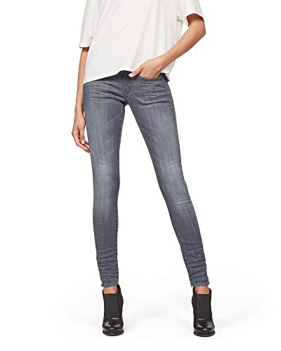 G-STAR RAW Lynn D-Mid Waist Super Skinny Jeans, Medium Aged 9296-071, 23W / 28L Donna