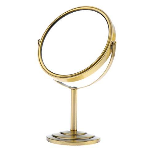 B Blesiya Doppelseitig 1/2 x Kosmetikspiegel Kosmetik Tisch Spiegel Standspiegel, 360° Schwenkbar - Bronze