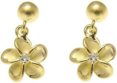 quality assurance Yellow Gold ON Silver 925 Ball Dangle Flow Hawaiian Plumeria Quantity limited 8MM