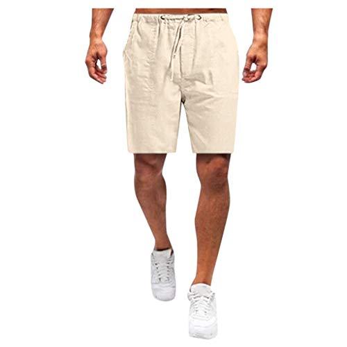 Forthery-Men Linen Shorts Casual Elastic Waist Drawstring Yoga Beach Trousers Pants(Beige,XXXL)