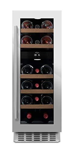 mQuvee Weinkühlschrank Unterbau/Einbau WineCave 30D Edelstahl, Platz für bis zu 16 Flaschen, 2 Temperaturzonen 5-20°C, Breite 30 cm