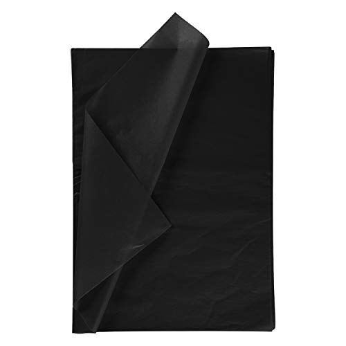 RUSPEPA Geschenkpapier Seidenpapier - schwarz Seidenpapier für Heimarbeit Bastelarbeit Geschenkverpackung – 50 x 70 cm – 25 Blatt