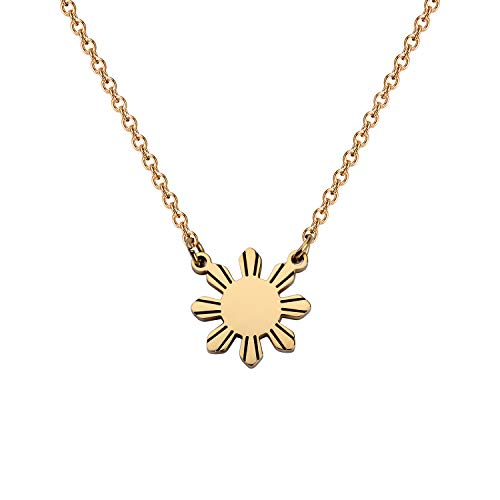 MYOSPARK Philippines Sun Necklace Philippines star necklace Philippine Pride necklace Philippines Jewelry Gift For Filipino (Philippines Sun Necklac)