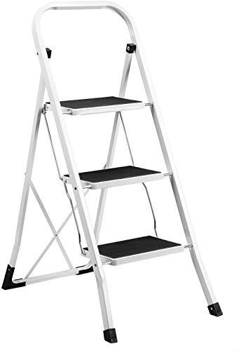 Switory Escalera plegable de 3 peldaños Resistente antideslizante Pedal robusto y ancho Carga máxima 300 lb con empuñadura práctica Taburete de acero portátil con escalones Blanco y negro