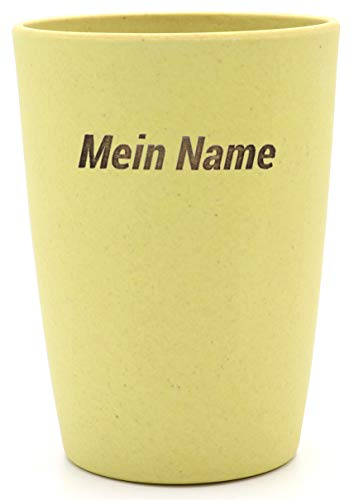Magu 1 Becher mit Namen personalisierter Bambus Trinkbecher - Individuelle Namensgravur Zahnputzbecher 461 - naturgelb