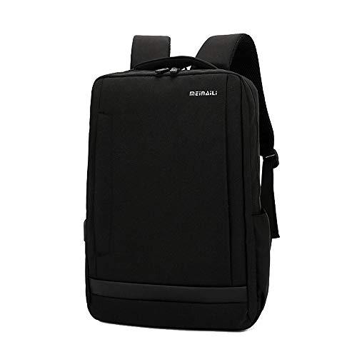 LUYIYI ナイロン外付けUSB充電ヘッドホンジャックバックパックメンズコンピュータバッグ (Color : Black)