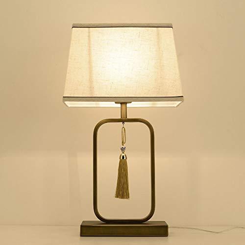 Cinese moderno Tessuto vetro Lampada da Tavolo Lampada da comodino Metallo dorato Lampada da Tavolo per soggiorno, tessuto lampada da tavolo con interruttore per Camera da letto e sala di studio,C