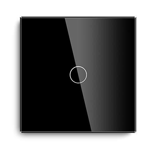 BSEED interruptor táctil de pared 1 Gang 1 Way Conmutador con sensor de tacto en Negro,Templado Interruptor de luz de pared de vidrio con luz indicadora
