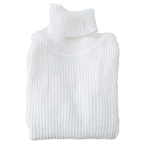 Shengwan Rollkragenpullover Kinder Baby Mädchen Junge Langarm Pulli Strickpullover Weiß 110