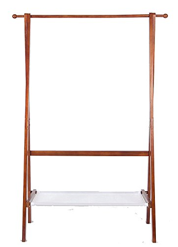 Yaker's collection Wooden Clothes Rack, Foldable Garment Rack with Waterproof Storage Layer, Easy Assembly Coat Rack for Clothes, Hat, Handbags, Umbrella