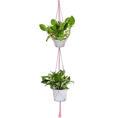 LZFLZ Vintage-Dekor-Makramee-Betriebsaufhänger Korb Flowerpot Betriebshalter Makramee Hängen Verknotete Hebeseilgarten Hausgarten-Dekor (Color : Pink Dual Layer)
