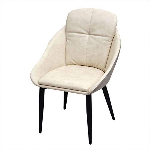 Mendler Esszimmerstuhl HWC-G42, Stuhl mit Armlehne Küchenstuhl Lehnstuhl - Kunstleder, Creme-grau
