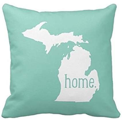20 x 20 Inches Michigan in White and Blue Pillow Cover for Sofa Bedroom Living Room Square