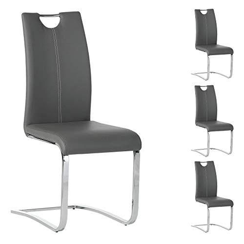 IDIMEX Esszimmerstuhl Schwingstuhl SABA, Set mit 4 Stühlen, Chrom/grau