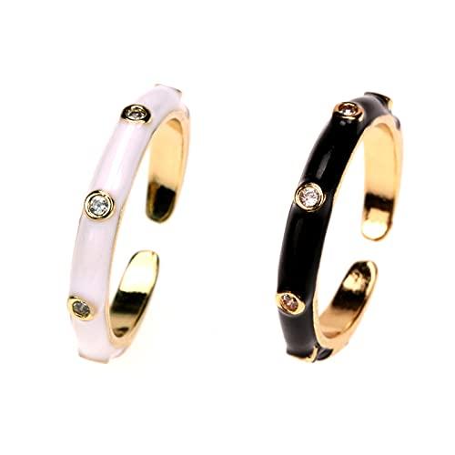 CLKE 2 unids Ins anillo creativo colorido mujer anillos boda aleación esmalte redondo anillos lindo colorido vintage gota aceite metal anillos joyería moda, Adjustable, estrás,