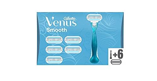Venus Smooth Rasoir Femme, Rasage de Près en Douceur, 1 x Rasoir + 6 Lames [OFFICIEL]