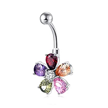 CZ Pave Belly Button Ring - Surgical Steel Vibrant Rhinestone Flower Navel Rings 18k White Gold- Diamond Belly Dangle Piercing Jewelry