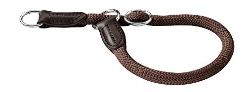 HUNTER Freestyle Dressurhalsung, Hundehalsband, Zugstopper, robust, wetterfest, 50 (M-L), braun