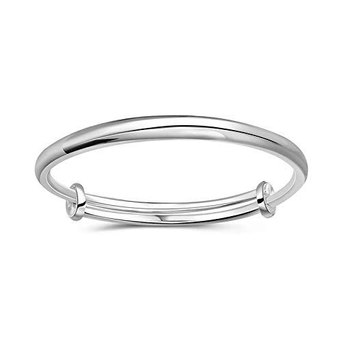 Pulsera de plata ajustable para mujer, de imitación sólida, regalo de plata para hermana, amiga y mamá