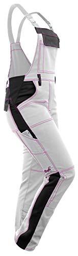 strongAnt® - Damen Arbeitshose Arbeits-Latzhose Weiß Pink für Frauen Malerhose komplett Stretch mit Kniepolstertaschen Baumwolle - Weiß-Schwarz/Pinke Naht 36