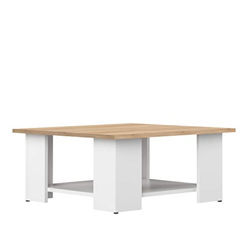 Marca Amazon -Movian Taro - Mesa de centro, 67 x 67 x 30.5cm (largo x ancho x alto), roble y blanco