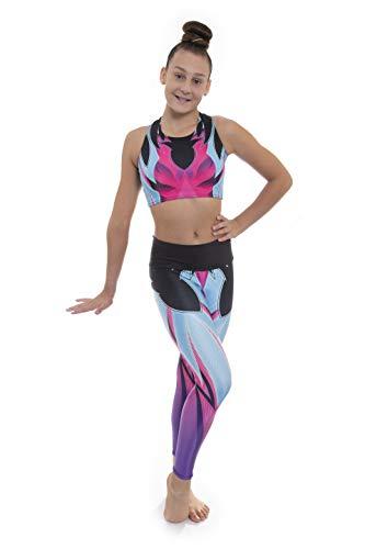 Alexis Neon par Velocity Pro Sport Crop top et legging pour filles Idéal pour la gym, l'entraînement, la course, l'été, la gymnastique, le yoga (Alexis Neon, 5–6 ans)