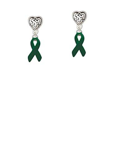 Green Ribbon - Celtic Heart Earrings