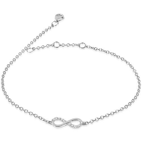 Bracciale Donna Oro e Diamanti, lunghezza regolabile 18/17/16cm–Oro Bianco 9kt 375 Diamanti 0.04Carati Clicca su MILLE AMORI blu e scopri tutte le nostre collezioni