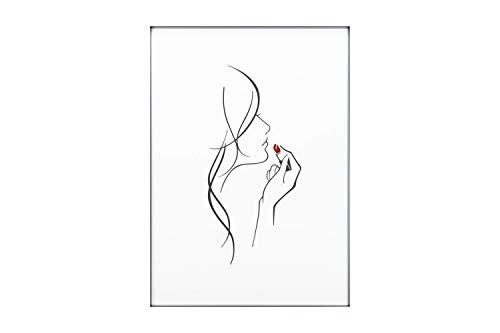 KunstLoft® Acryl 3D wanddecoratie 'Ruby-Red Kisses' 50x70cm Zwart Wit vrouw