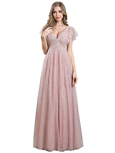 Ever-Pretty Vestiti da Cerimonia Donna Linea ad A Pizzo Tulle Scollo a V Maniche Corte Lungo Rosa 38