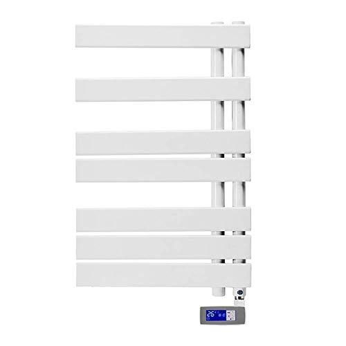 YELLAYBY Calentador de toalla montado en la pared Secador de toallas rápidas con controlador de temperatura LCD operable, enchufe en calentador de toallas y estante de secado, acero con bajo contenido