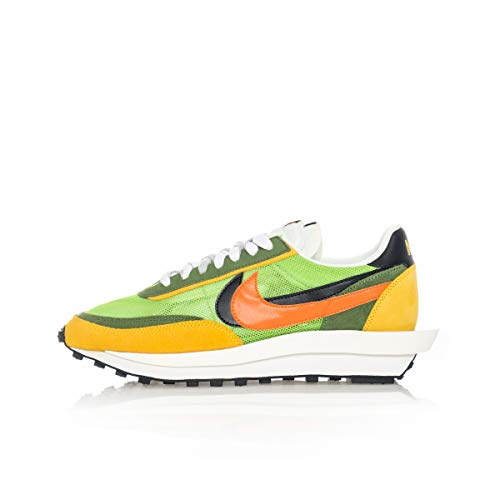 Nike Mens LD Waffle/SACAI Green Gusto/Safety Orange Suede Size 9.5
