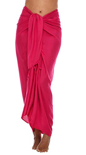 SHU-SHI, donne - Beach Coprire Sarong Costume da bagno Cover-Up Molti colori solidi tra cui scegliere, rosa caldo, taglia unica