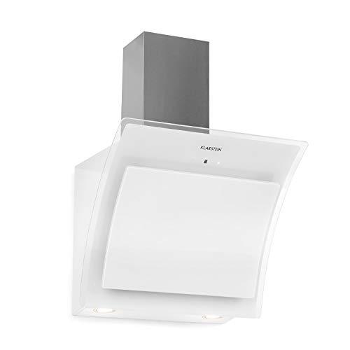 KLARSTEIN Sabia 60 - Campana extractora Inclinada, Extractor de Humos de Pared, Vidrio de Seguridad, Absorción y circulación de Aire, 3 Niveles, 600 m³/h, Iluminación LED, 60 cm de Ancho, Blanco