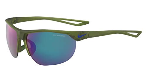 Nike EV1012-300 Cross Trainer R Sunglasses (Frame Grey with Standard Green Flash Lens), Matte Palm Green