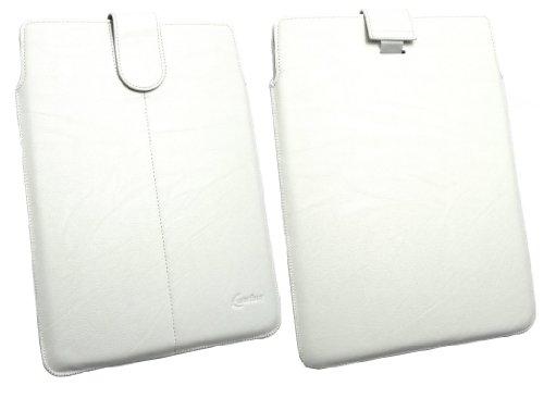 Emartbuy® Weiß Pu-Leder secured Gleiten In Pouch Case Tashe Hülle Sleeve-Halter Mit Pull Tab Mechanismus Geeignet Für Odys Xeno 10 10.1 Tablet (10-11 Zoll-Tablet)