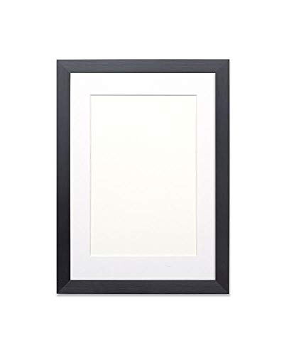 Paintings Frames Picture frame/photo frame/poster frame with bespoke Mount - Moulding measures 19mm wide and 15mm deep - Black Frame with White Mount- A3 for A4 pictures
