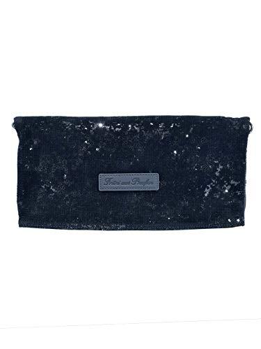 Fritzi aus Preussen Damen Ronja Clas Clutch, Schwarz (Black) 1/Sequin Velvet, 29x15x3 cm