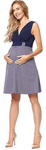 Be Mammy Damen Umstandskleid mit Stillfunktion BE20-242(Marineblau/Punkte, M)