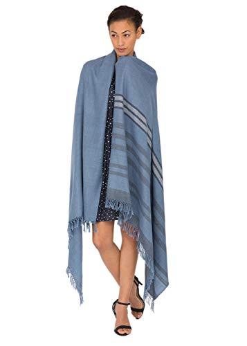 likemary Damen Schal Schultertuch aus 100% Merino Wolle - Poncho Stola XXL Tuch & Umschlagtuch -ideales ethisches Geschenk für Frauen - Twillon, 100 x 200 cm blau