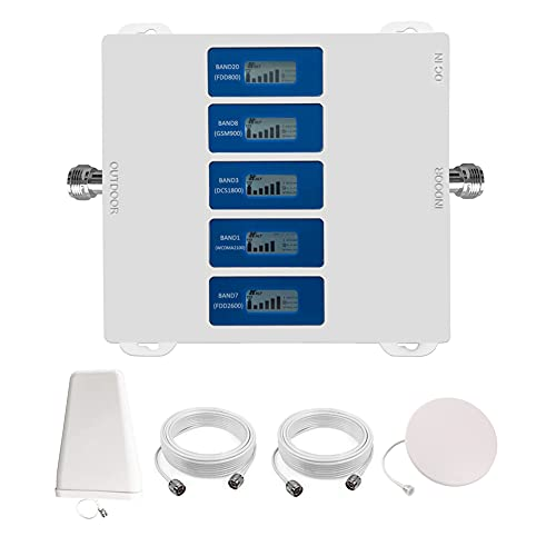 KKBSTR Amplificatore Segnale Cellulare 4G 5 Bande 800/900/1800/2100/2600 MHz, Ripetitore Segnale Cellulare 3 (Tre) Tim Vodafone Wind - Approvato CE