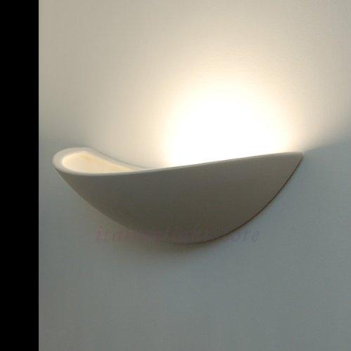 VIRGOLA Applique Lampada Moderna A Parete Decorabile In Ceramica Gesso Colorabile Verniciabile- Linea Ceramica- Illuminazione Interni