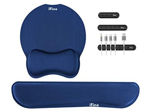 iFine Upgrade Enlarged SuperiFine Fibre Soft Smooth Gel Ergonomic Mouse Pad Wrist Support & Keyboard Wrist Rest for Desktop, Laptop, Mac, Gaming- Free Pack of 3 Cable Holder-Bundle Pack! (Navy Blue)