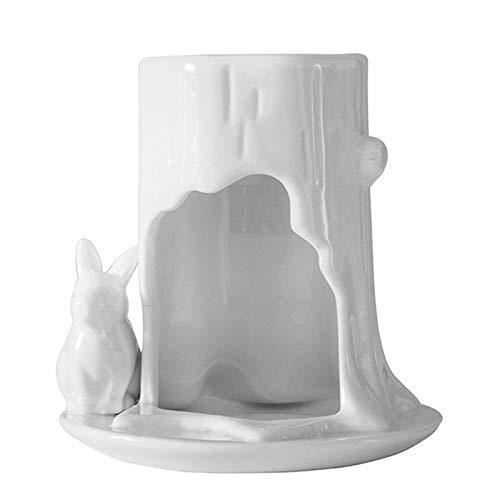 Liseng - Portacandele in ceramica bianca profumata, per oli essenziali, per yoga, bruciatore a olio