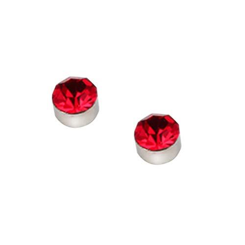 BESTOYARD 1 par de Imán Colorido Diamante Stud Stud Pendiente Adelgazante Pérdida de Peso Anti Celulitis para Hombres Mujeres Cuidado de la Salud Productos de Uñas de Orejas de Hierro (Rojo)