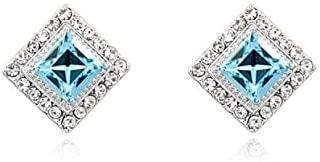 Swarovski Elements 18K White Gold Plated Earrings Encrusted with Blue Swarovski Crystals, SWR-379