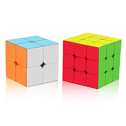 ROXENDA Speed Cube Set, Cubos de Velocidad 2x2 3x3, Fácil de Tornear y Liso Jugar, Cubo de Velocidad para Principiantes y Pro, Stickerless