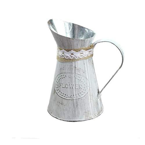Newin Star Rústico Flor del Metal Vas, Hierro florero de la Vendimia de la Lata del Cubo Retro de la Flor del Metal de los jarros para el hogar decoración de la Oficina
