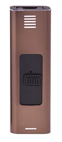 CHAMP USB ARC Metallic Feuerzeug No Flame No Gas USB Wiederaufladbar Windproof Power ARC (Braun)